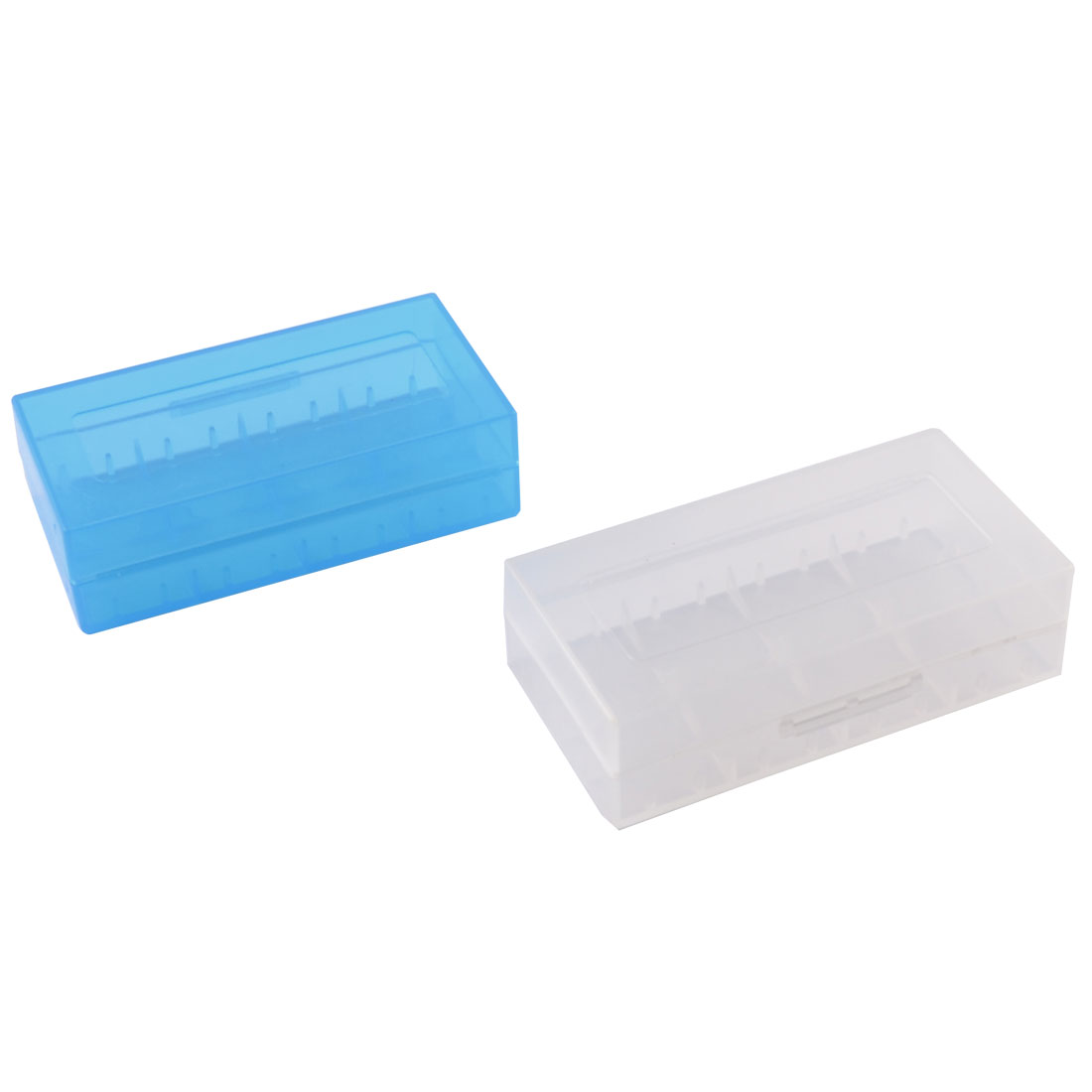 2 Pcs Plastic Light Blue White 18650 Battery Protective Case Holder
