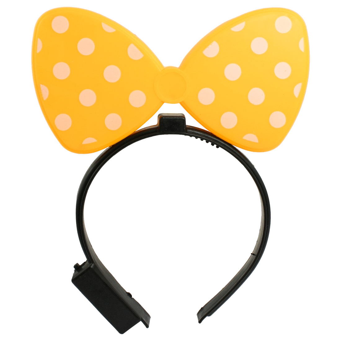 Flashing 2 LEDs White Light Yellow Bowknot Decor Plastic Hair Band for Lady