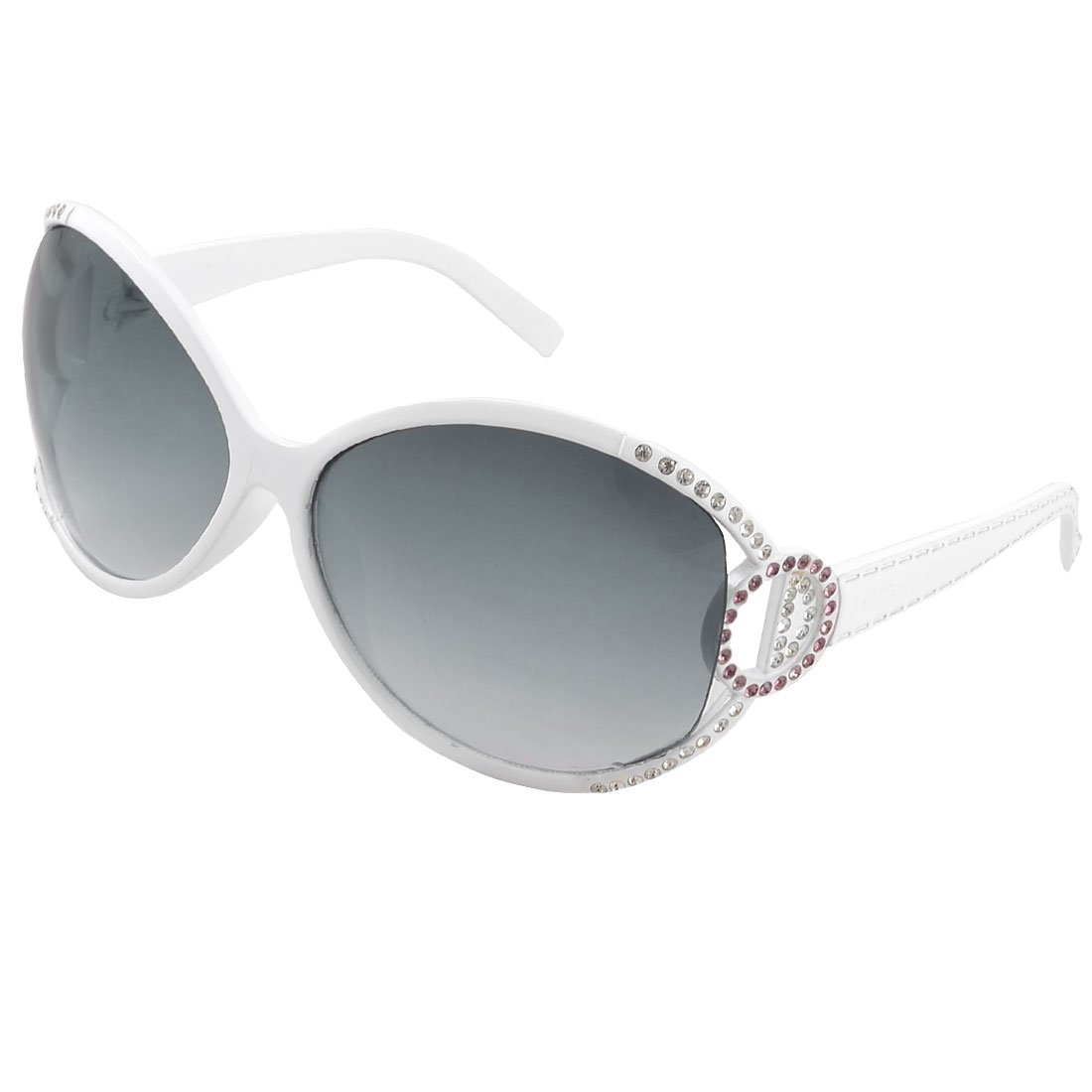 Lady Woman White Full Rim Rhinestones Accent Gradient Color Lens Sunglasses
