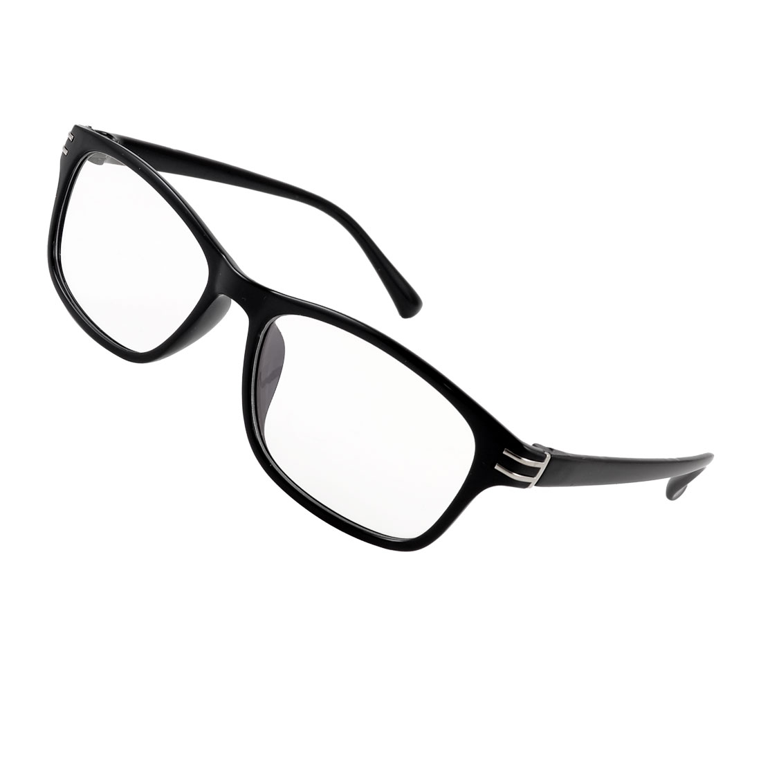 Unisex Double Metal Bar Detail Black Full Frame Arms MC Lens Plain Eyeware