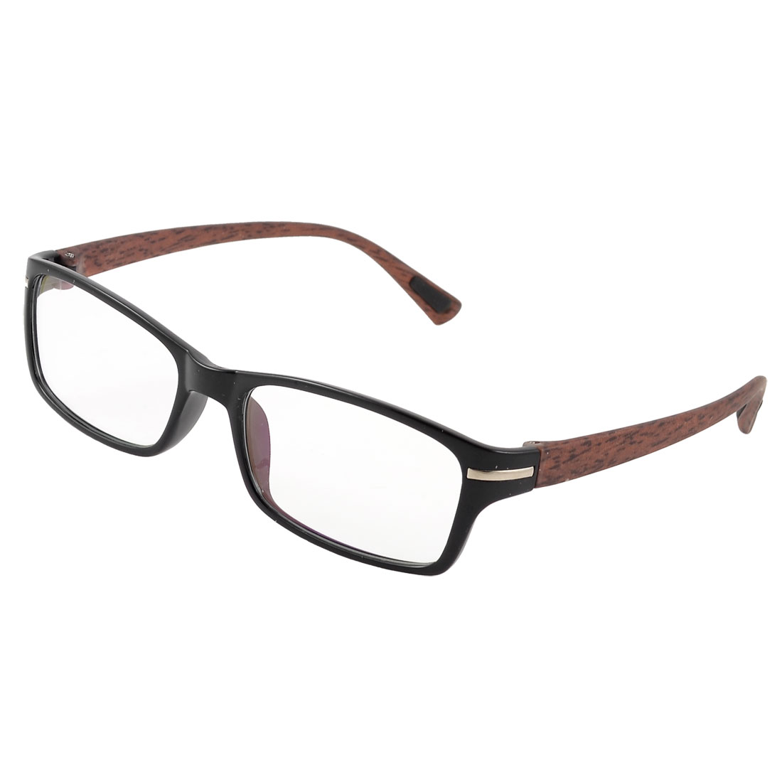 Ladies Men Black Rectangle Full Rim Brown Wood Grain Arms MC Lens Plano Glasses