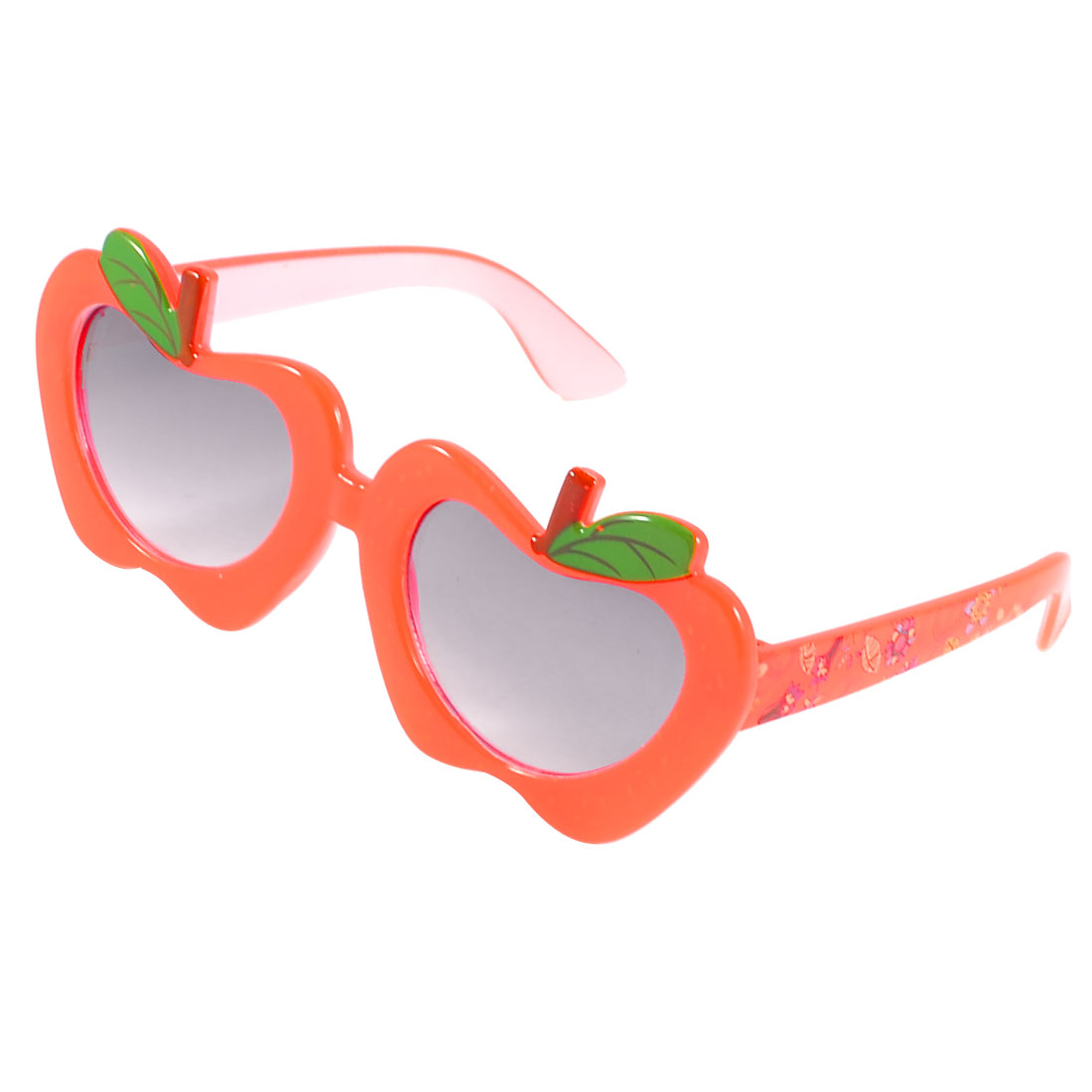 Children Plastic Orange Red Apple Shaped Frame Flower Pattern Arms Sunglasses