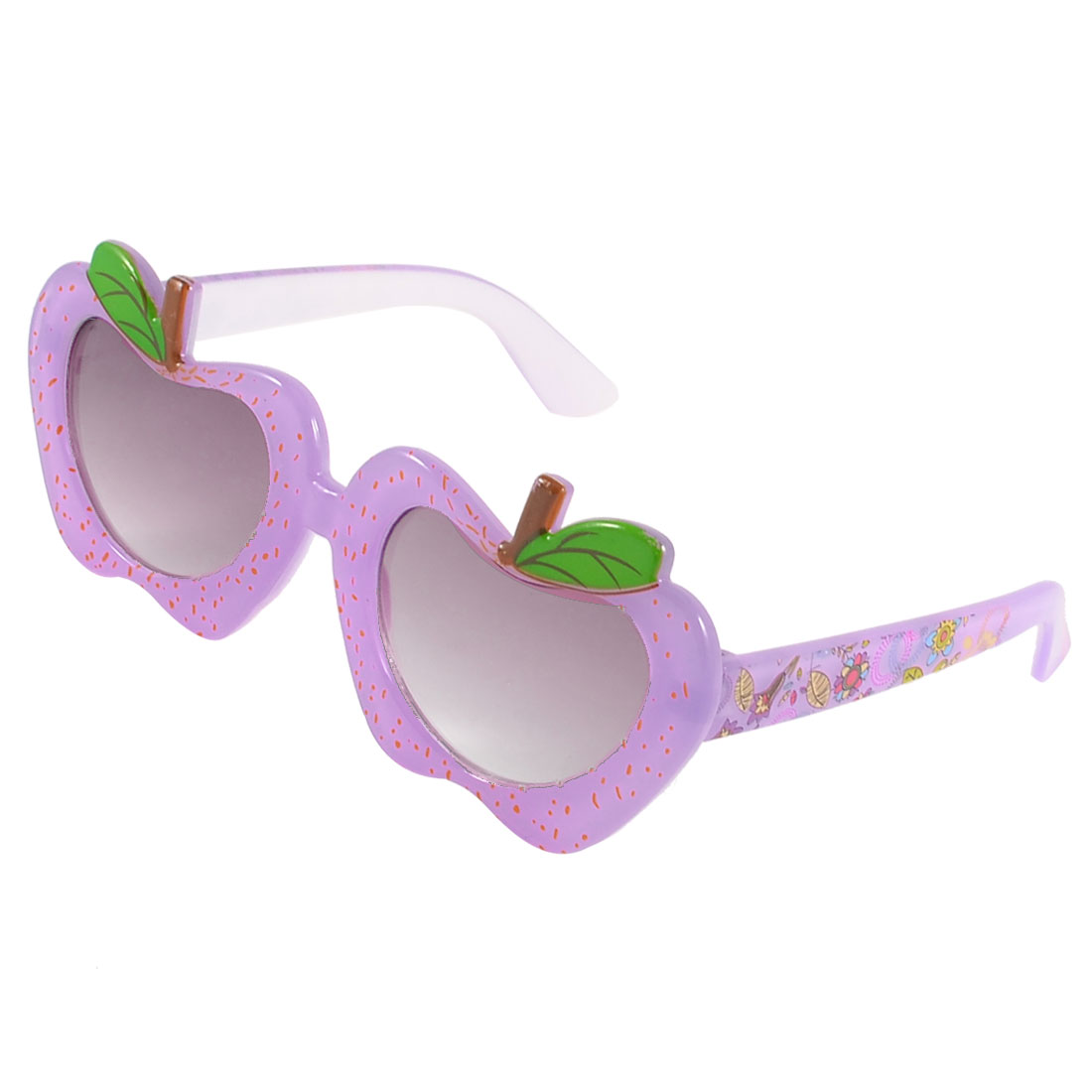 Children Plastic Light Purple Apple Shaped Frame Flower Pattern Arms Sunglasses