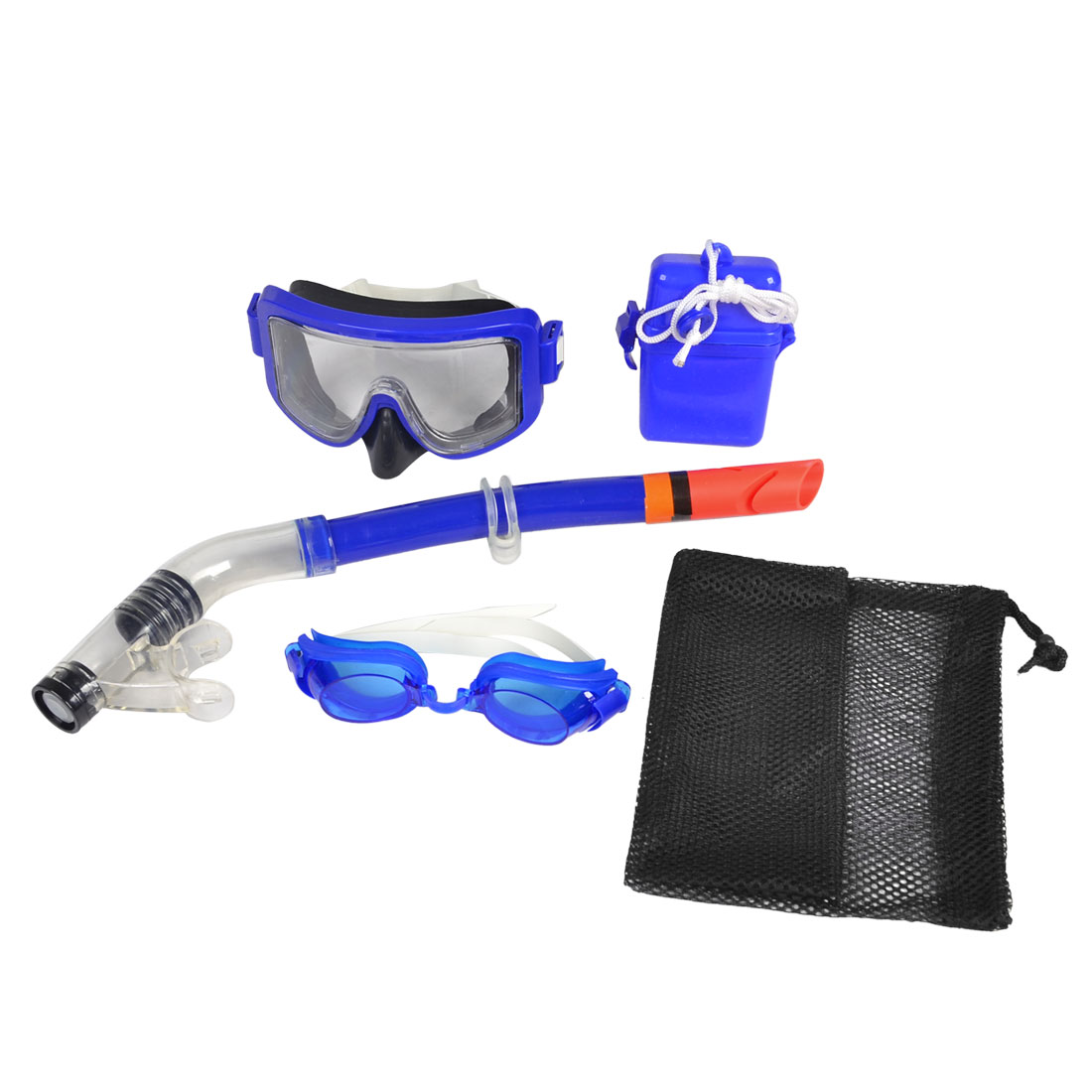 Adults Adjustable Strap Glasses Blue Frame Goggles Mask Snorkel Diving Set