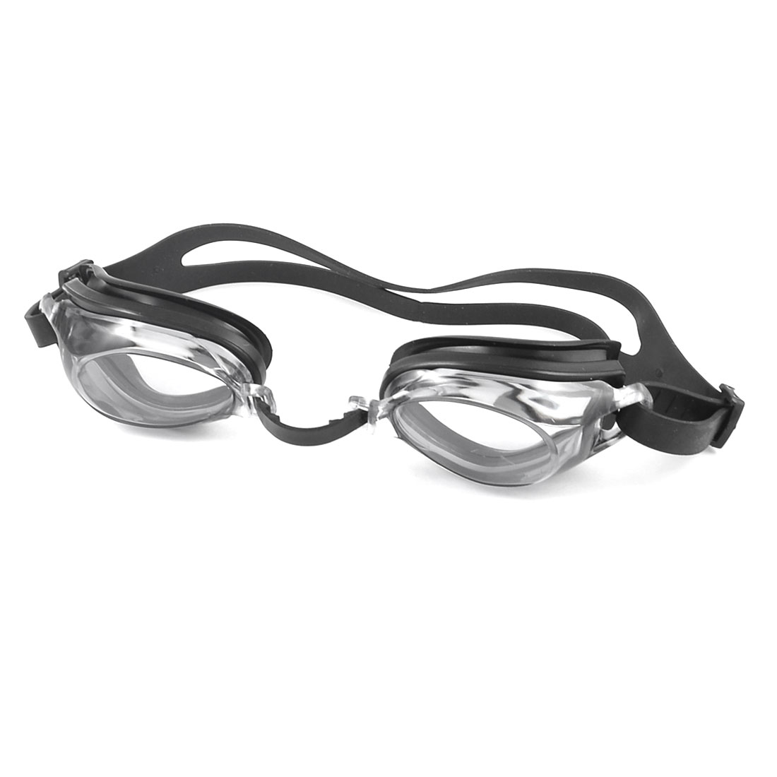 Adult Gray Black Elastic Strap Swimming Goggles w Rectangle Shape Spectacle Case