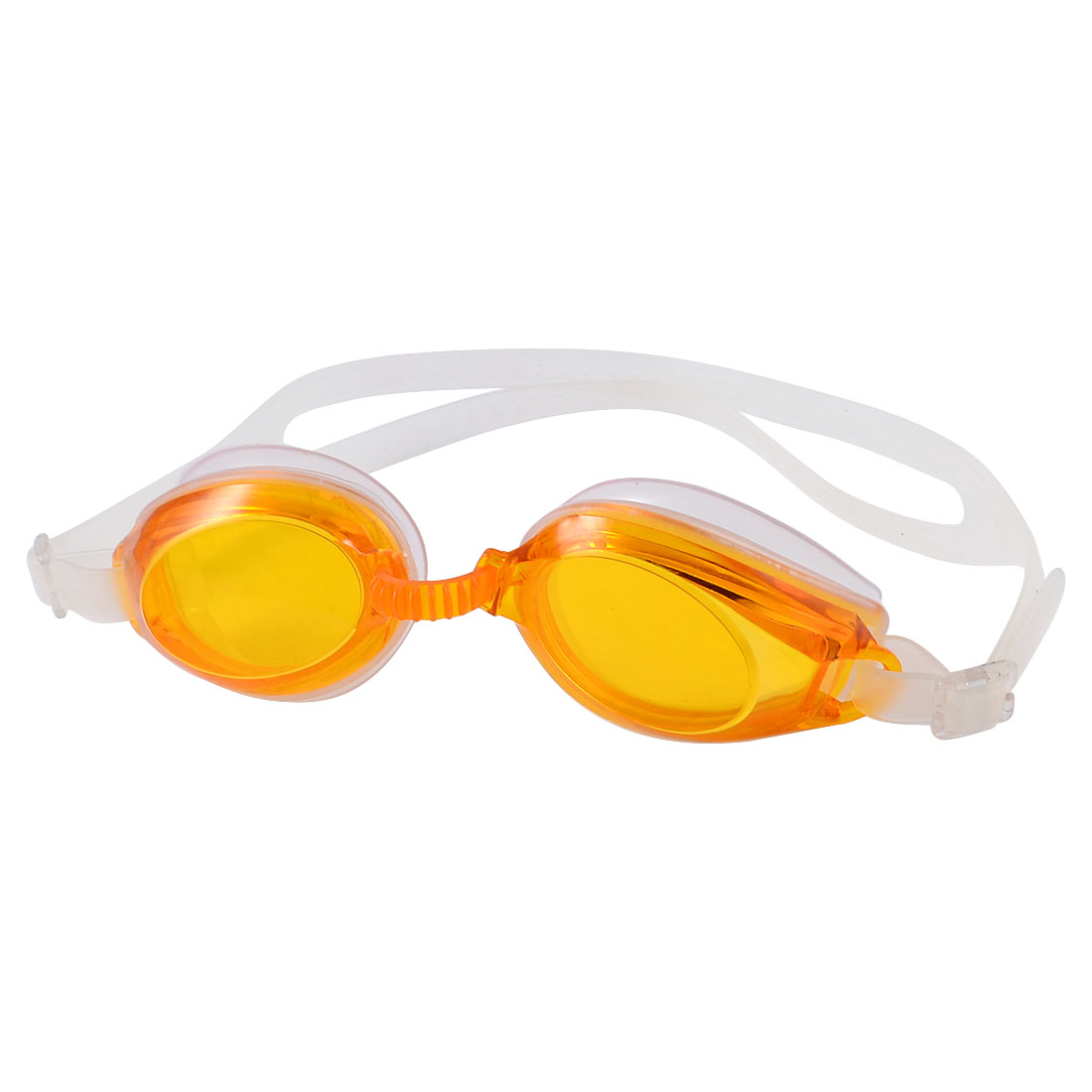 Portable Orange Oval Shape Lens Off White Adjustable Swimming Goggles for Child