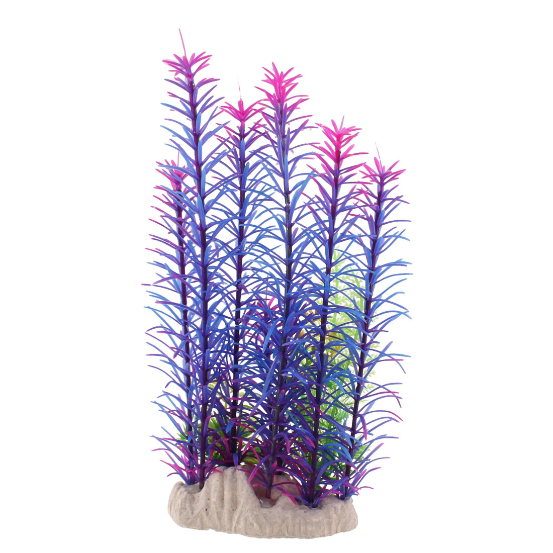 "Fish Tank Ornament Blue Purple Plastic Underwater Plant Grass 8.7"" High"