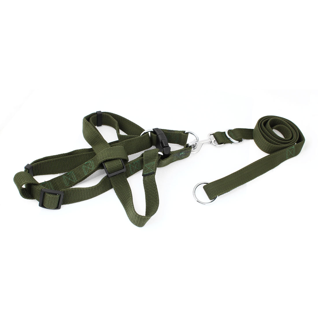 Pet Puppy Dog Adjustable Harness Halter Braided Army Green Leash