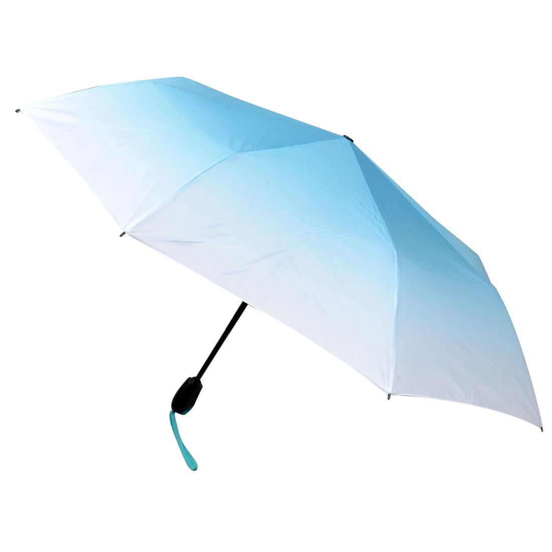 Plastic Grip 3 Sections Retractable Tube Foldable Light Blue Umbrella
