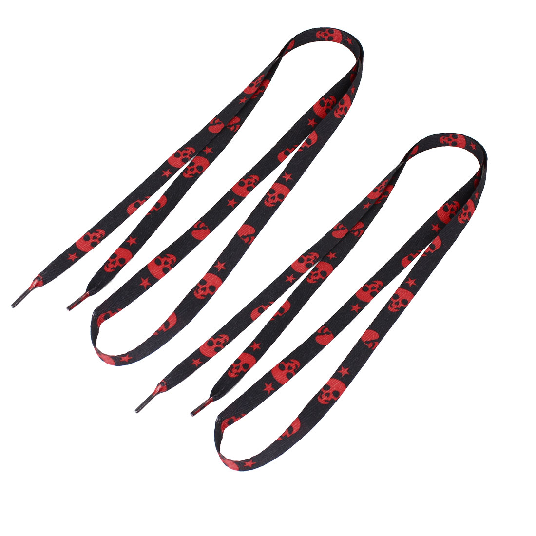 Pair Canvas Sports Shoes 1cm Width Textured Flat String Shoelaces Black Red