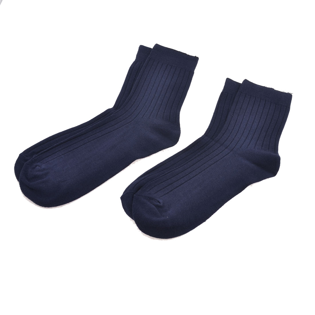 2 Pairs Dark Blue Cotton Blends Ribbed Elastic Warm Socks for Men