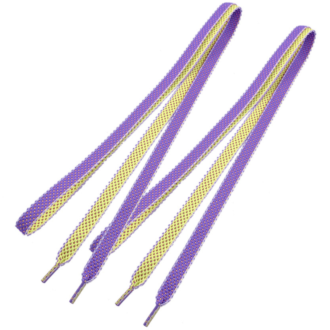 2 Pcs Sneakers Yellow Purple Kintted Style Flat Shoe Laces Strings for Unisex