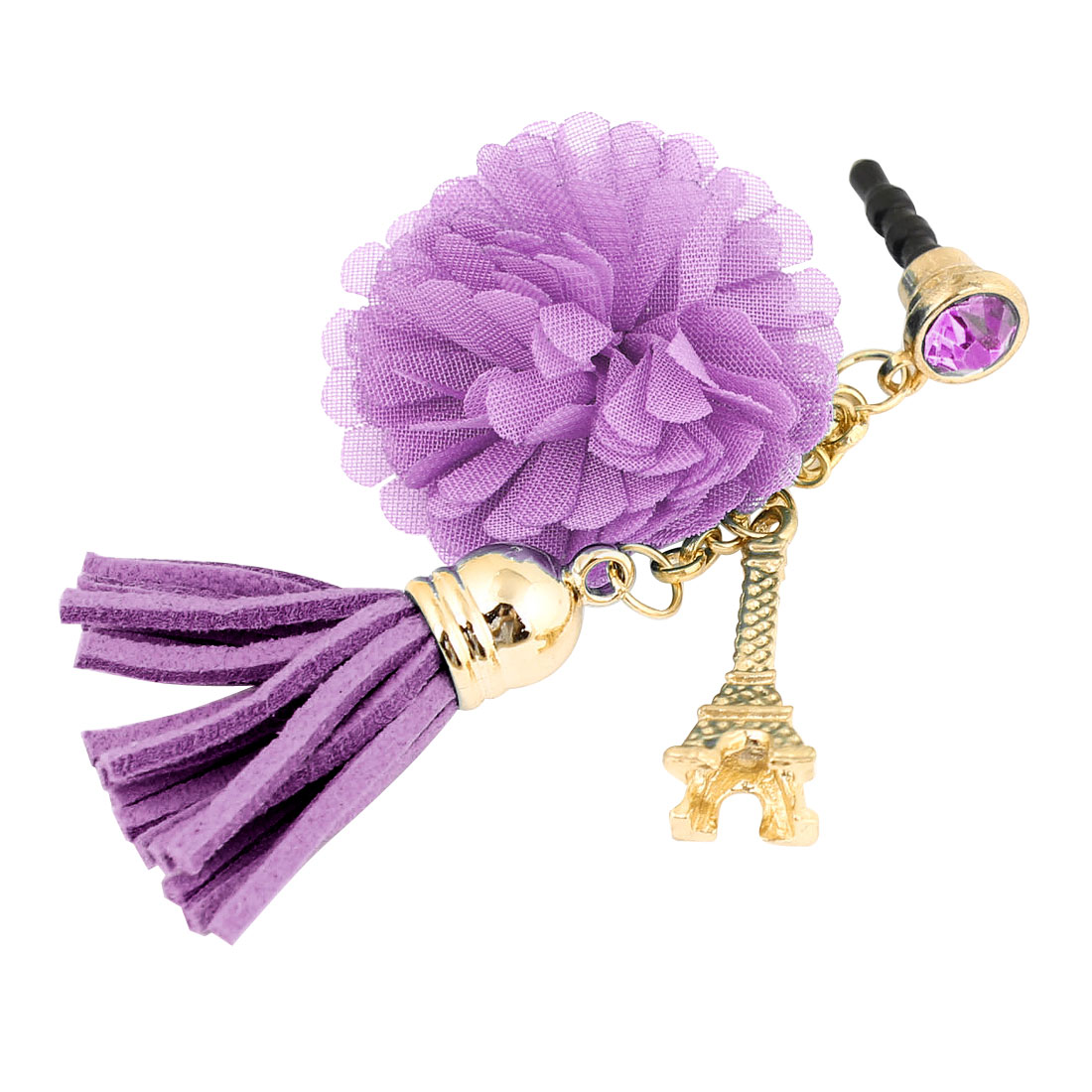 Phone Gold Tone Tower Purple Tassel Flower Pendant 3.5mm Dust Plug
