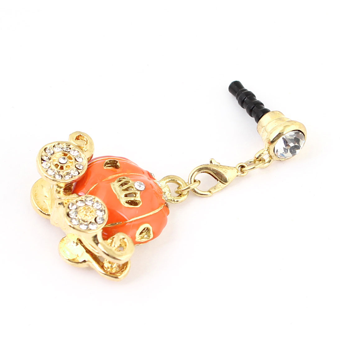 Phone PC Rhinestone Inlay Sled Pumpkin Pendant 3.5mm Plastic Dust Connector Stopper