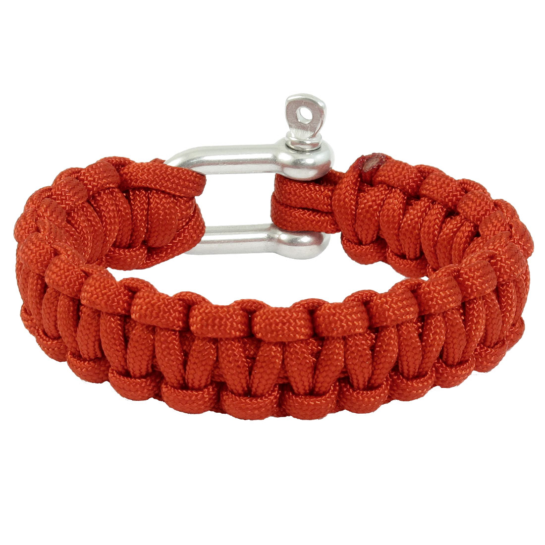 Outdoor Stainless Steel Shackle Cobra Weave Survival Bracelet Red
