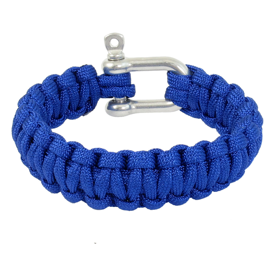 Outdoor Activities Practical Stainless Steel Shackle Blue Survival Bracelet