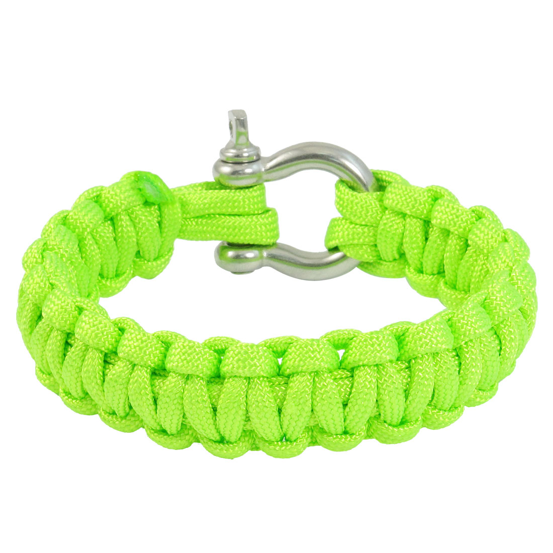 Outdoor Activities Stainless Steel Shackle Bright Green Survival Bracelet