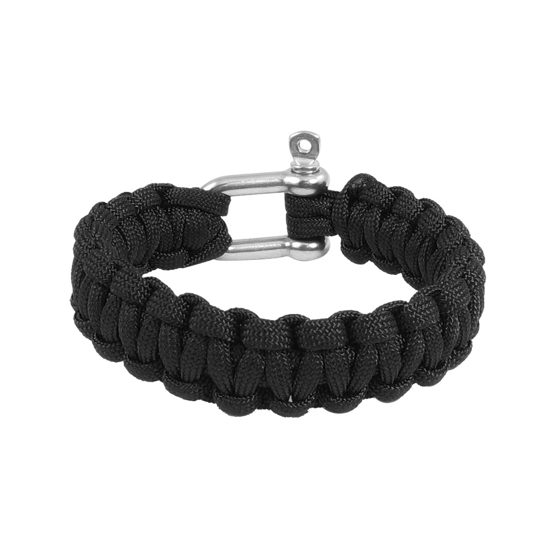 Daily Life Decor Stainless Steel Black Cobra Weave Nylon Cord Survival Bracelet