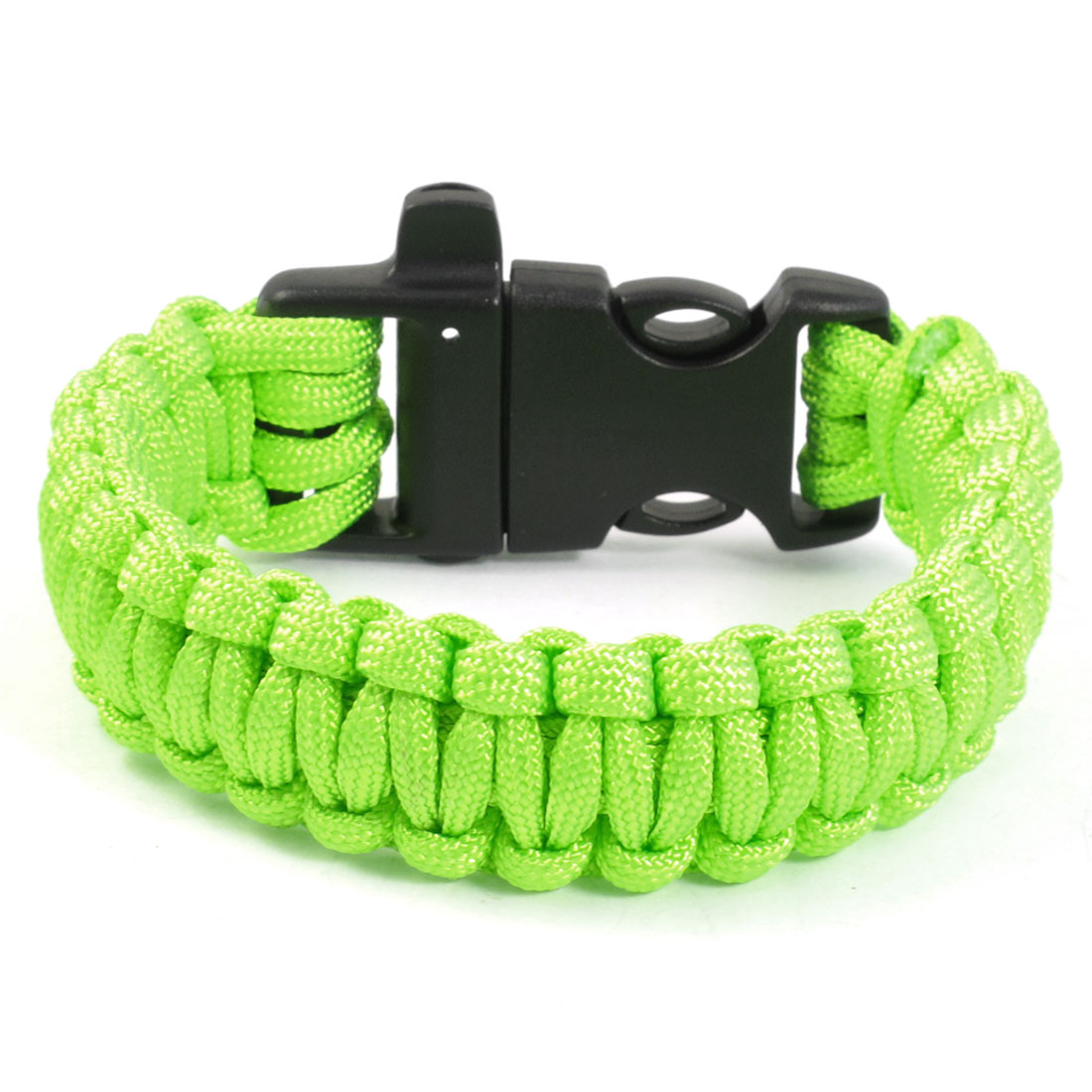 Outdoor Activities Side Release Buckle Bright Green Survival Bracelet
