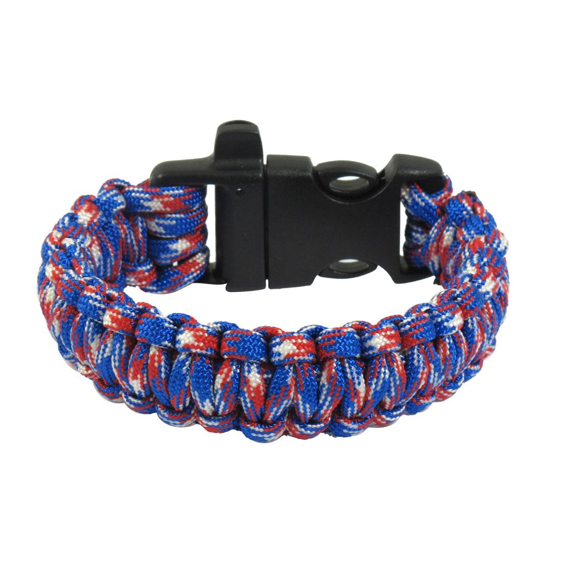 Whistle Practical Colorful Quick Release Buckle Nylon Survival Bracelet