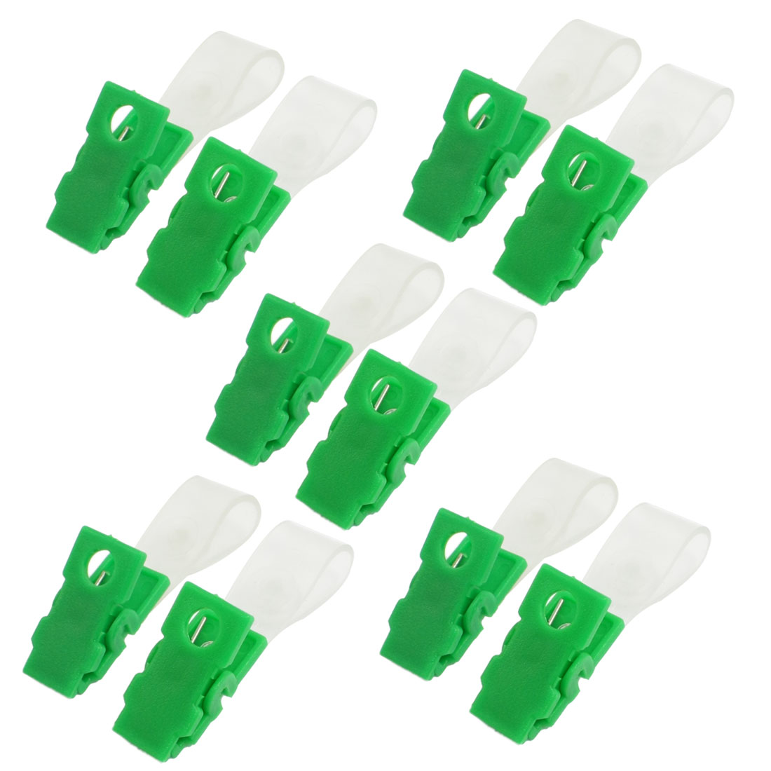 10 Pcs Green Clear Plastic ID Card Holder Name Badge Clips Clamps