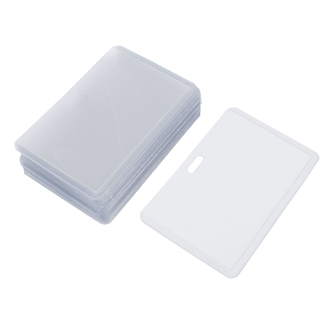 Office Clear Plastic Horizontal Business ID Badge Card Holder 20 Pieces