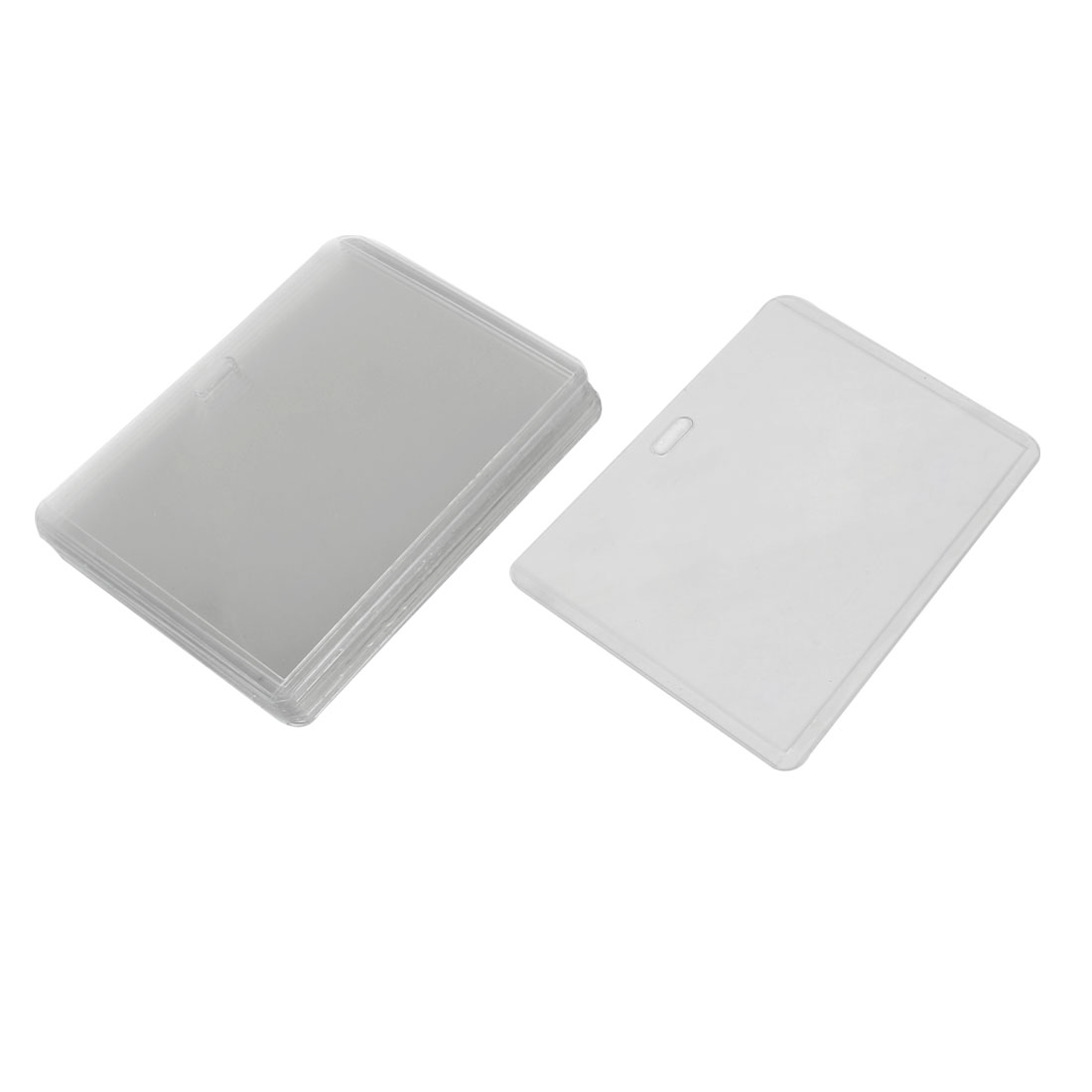 Office Clear Plastic Horizontal Business ID Badge Card Holder 10pcs