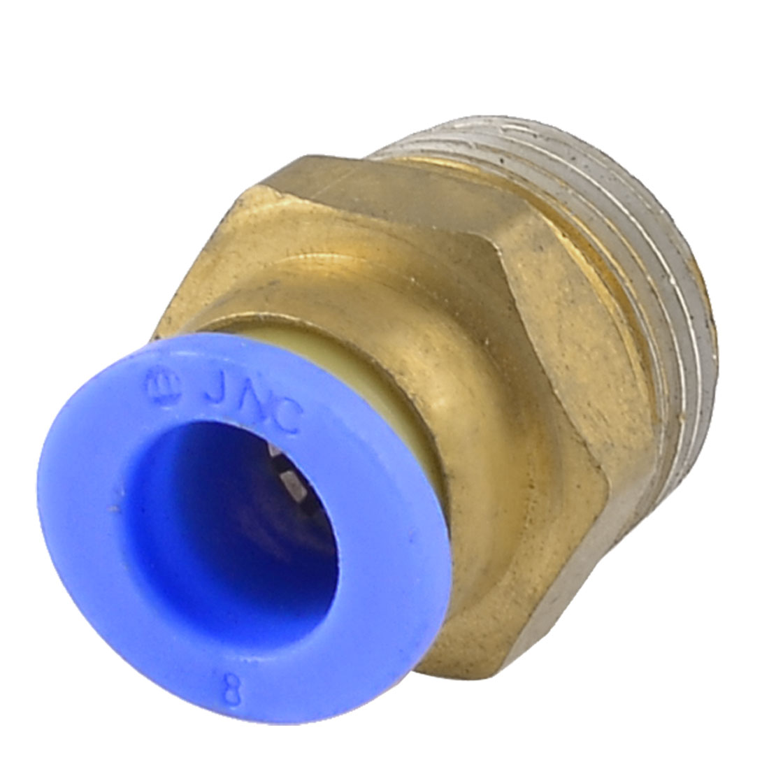 "8mm Hole 3/8"" PT Male Thread Straight Pneumatic Tube Quick Fitting Adapter Joint"