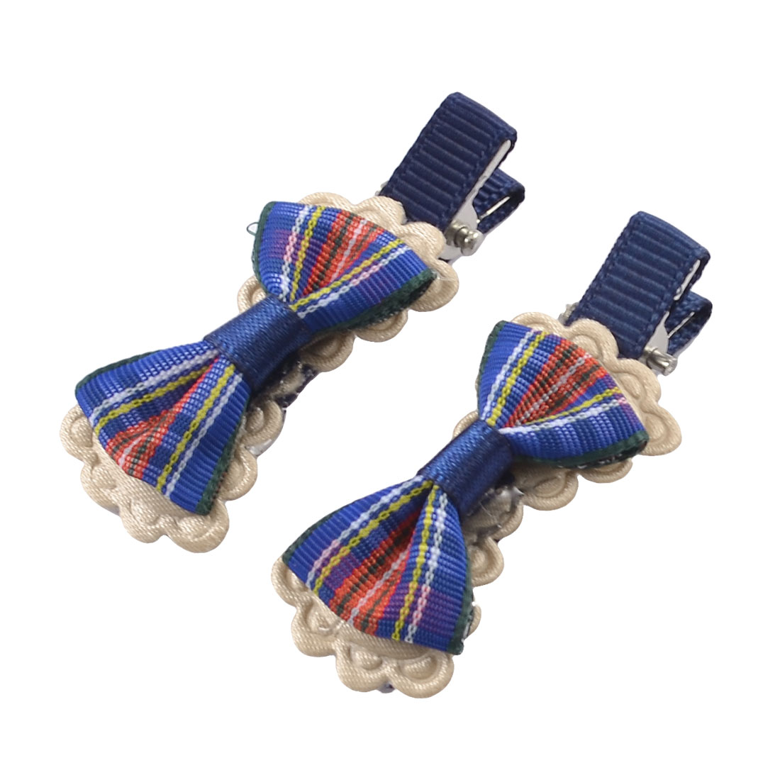 Child Dark Blue Striped Double Butterfly Knot Mini Single Prong Hair Clips Pair