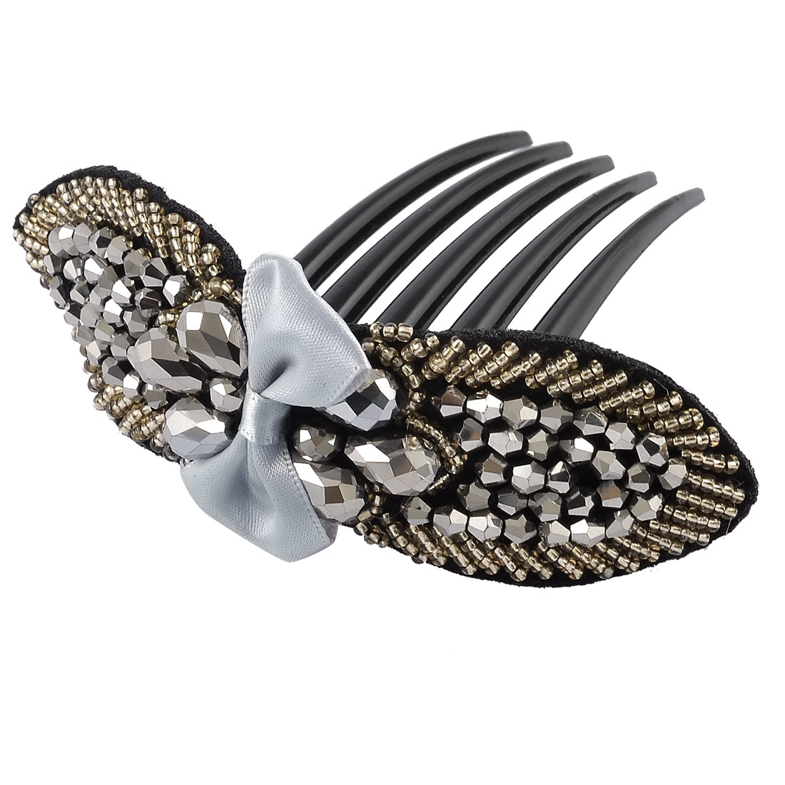 Women Plastic Silver Gray Glittery Beaded Bow Tie Comb Hair Clip Ornament