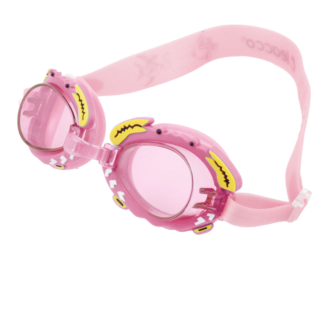 Child Clear Pink Plastic Frame Elastic Headstrap Swimming Goggles Spectacles