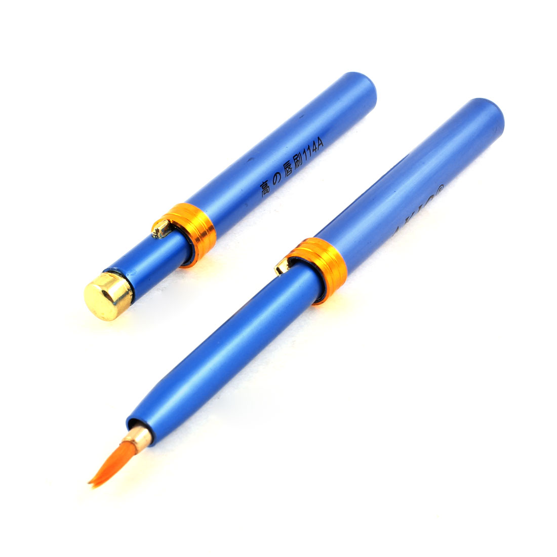 2 Pcs Blue Gold Tone Alloy Retractable Handle Cosmetic Lip Brush