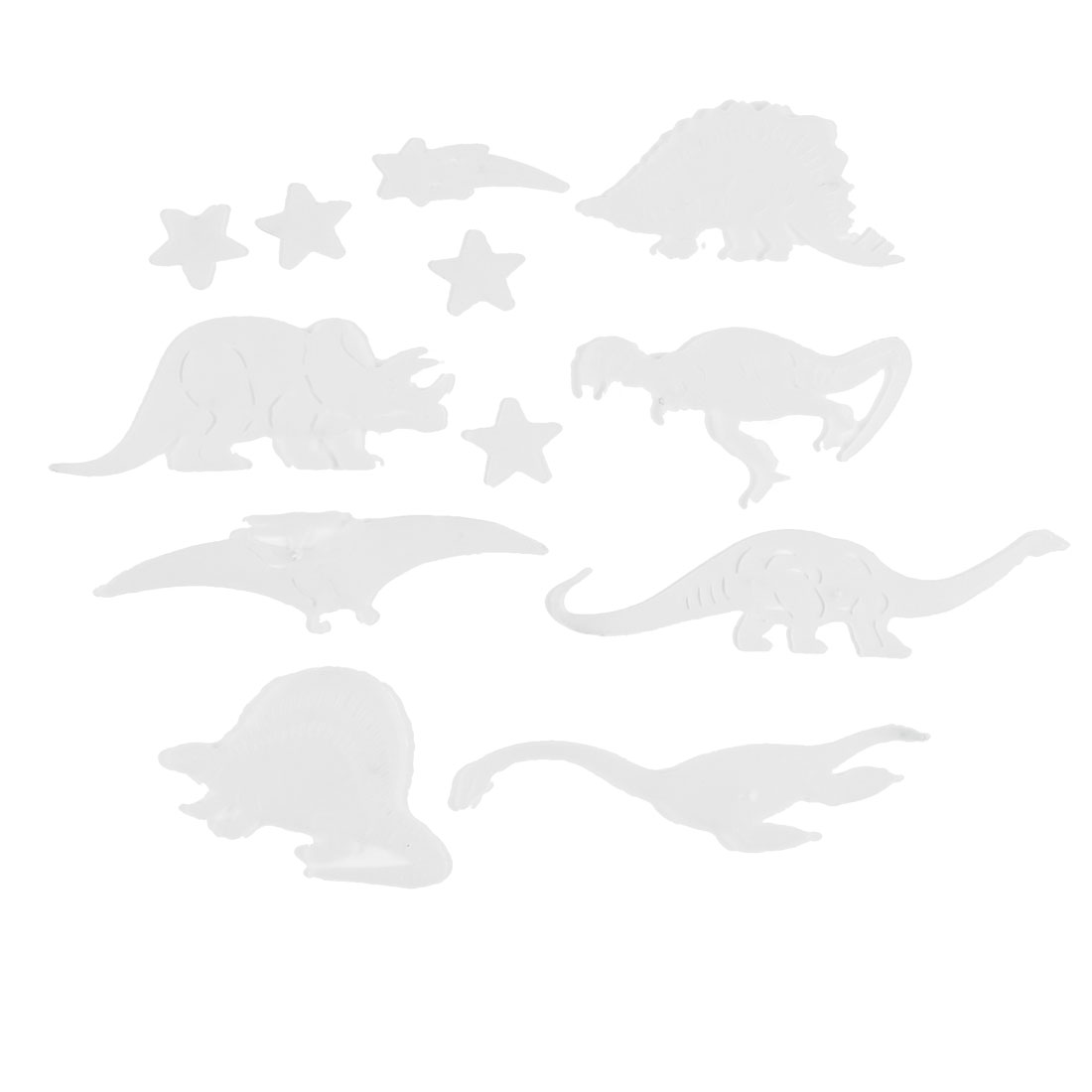 13 Pcs Plastic Dinosaur Stars Glow In The Dark Fluorescent Sticker Decor
