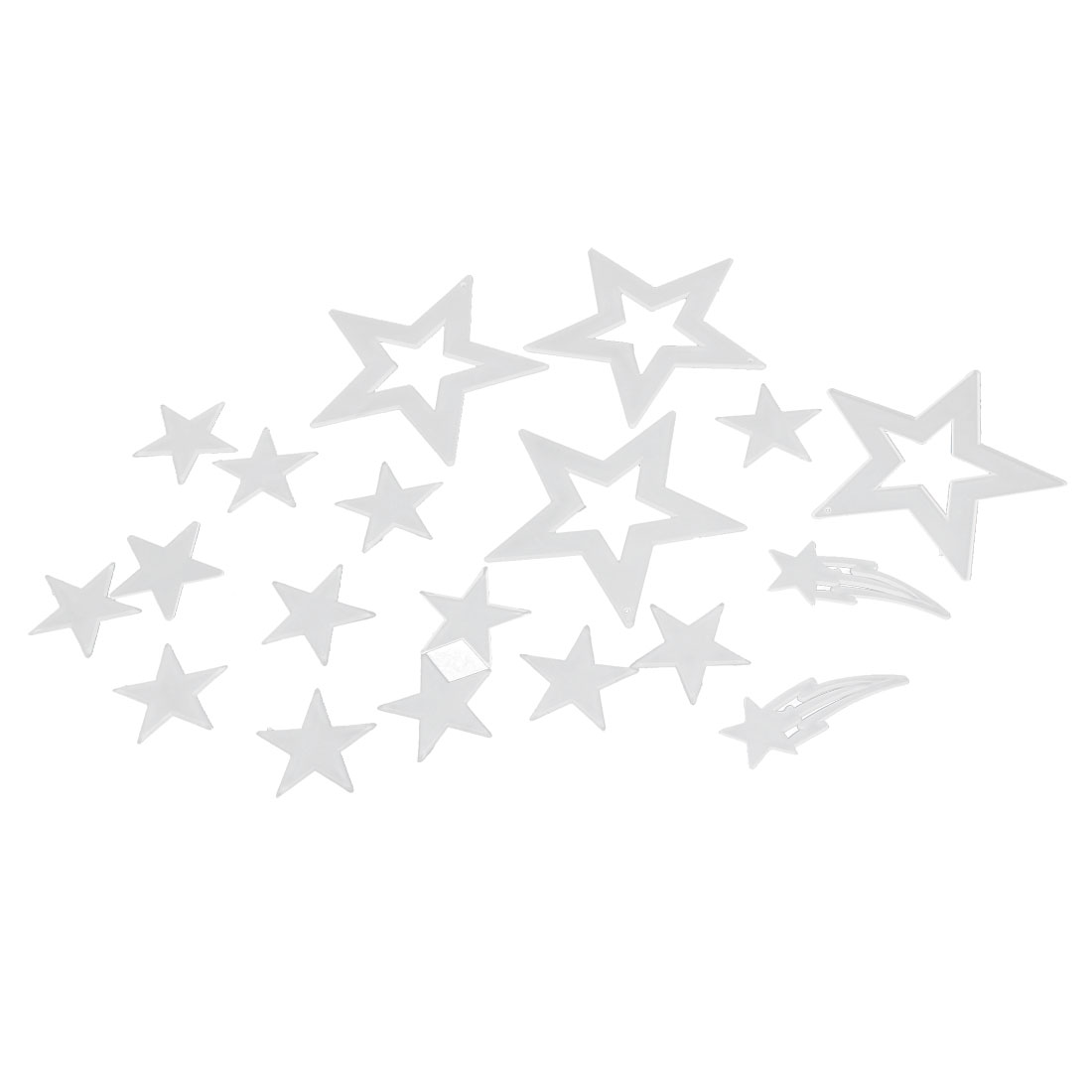 18 Pcs White Plastic Stars Glow In The Dark Fluorescent Sticker Decoration