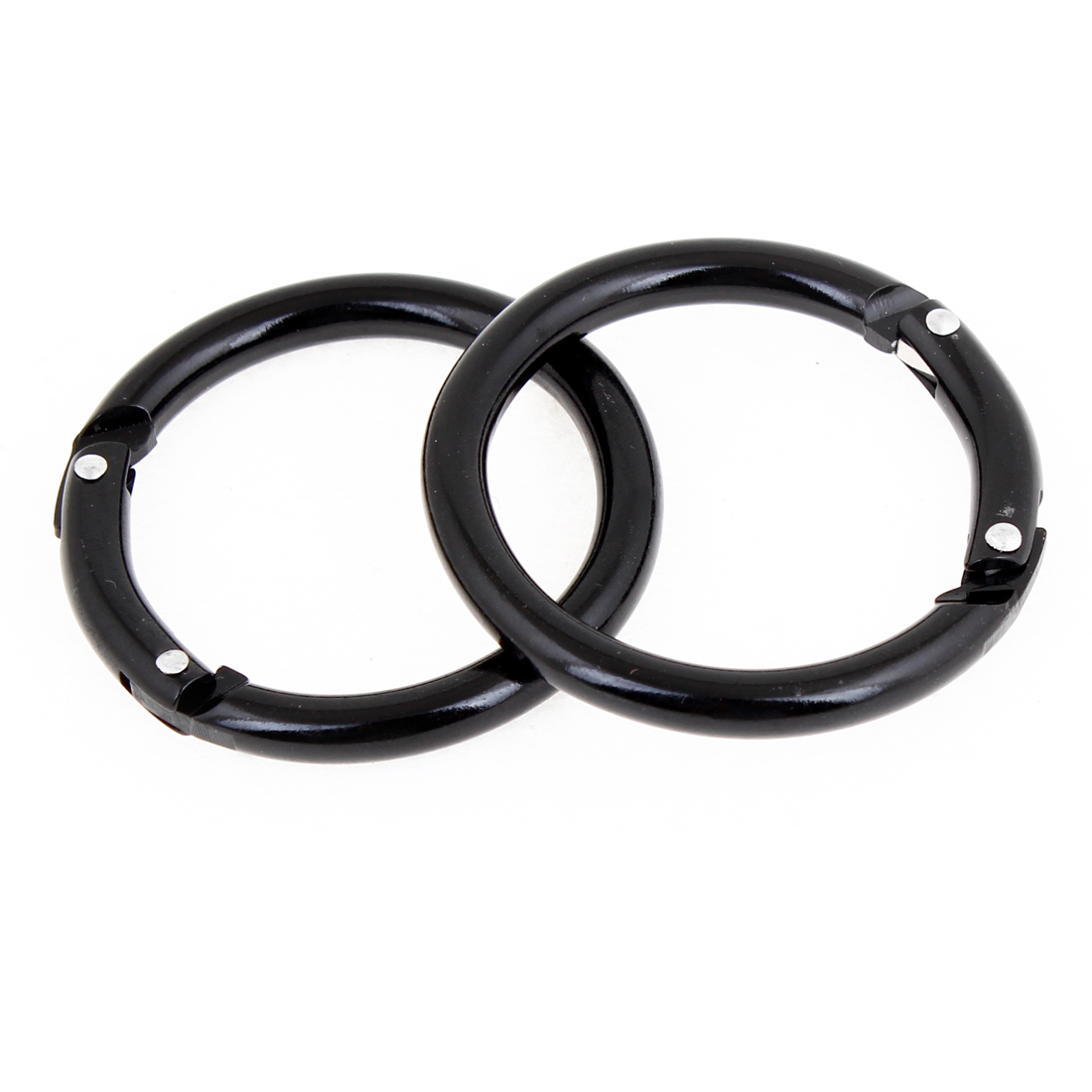2 Pcs Black Metal Spring Loaded Gate Key Holder Keyring