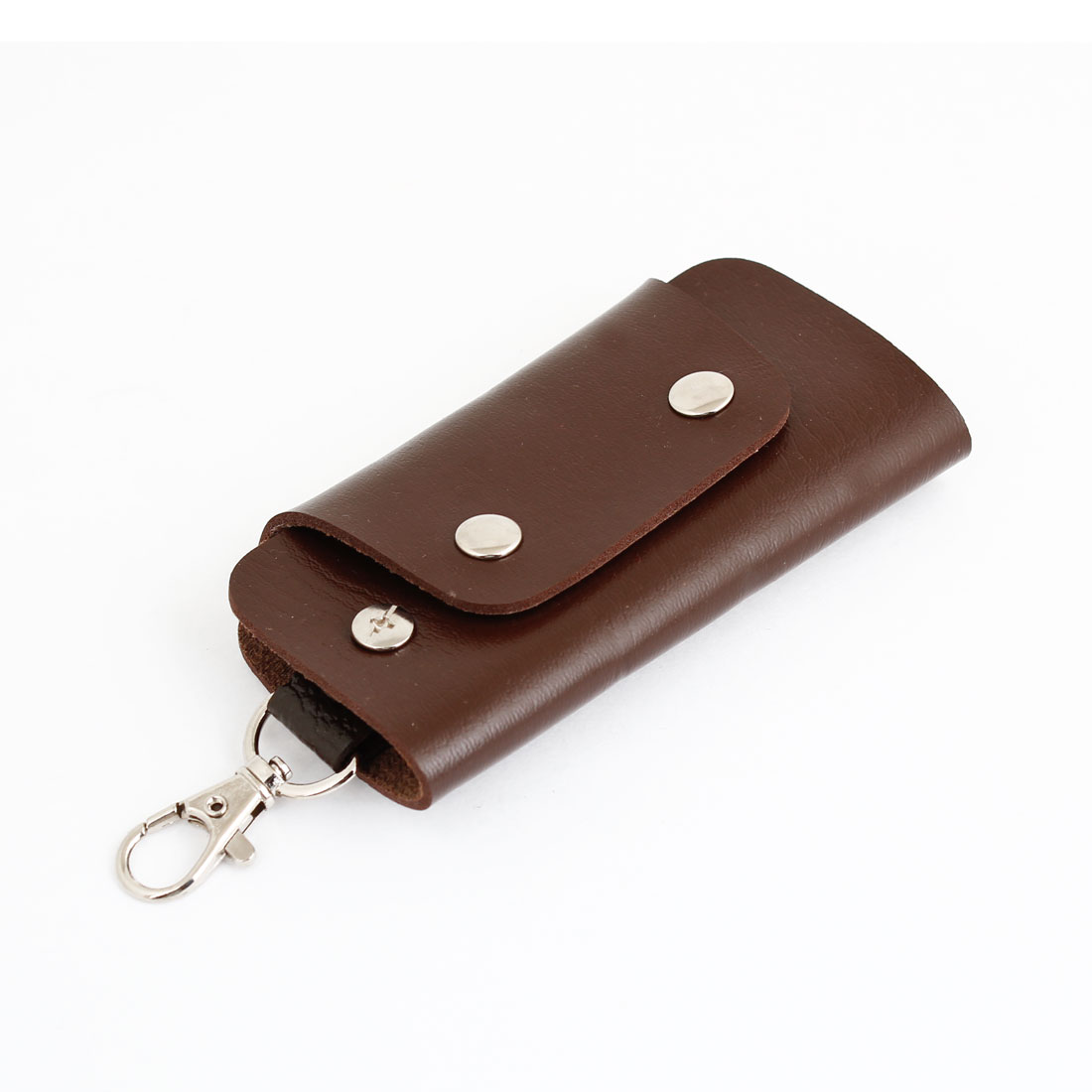 Dark Brown Faux Leather Press Stud Button Rectangular Key Bag Holder