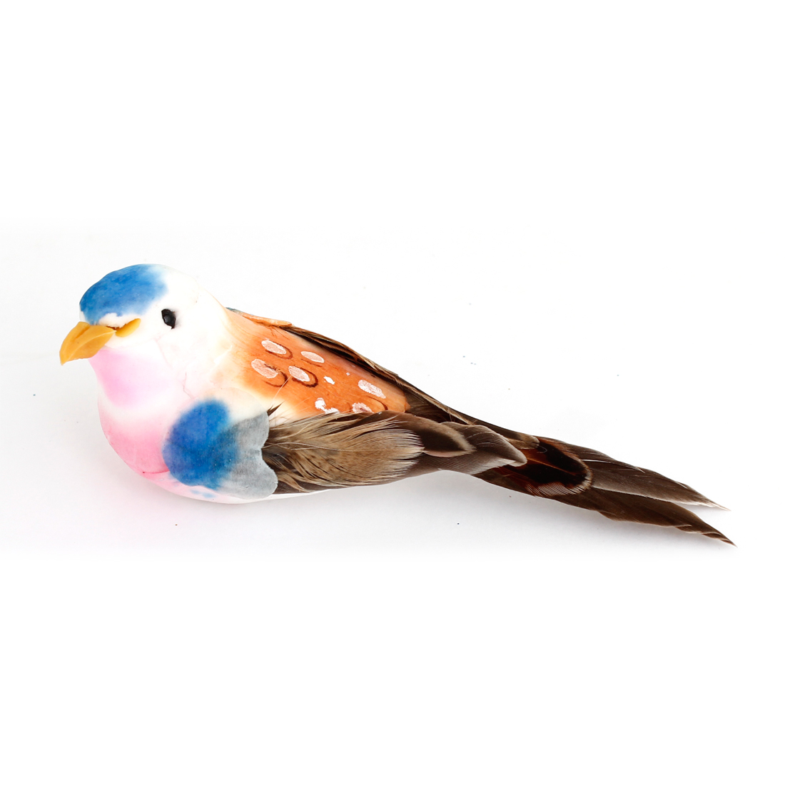 Blue Head Faux Feather Colorful Bird Imitation Toy