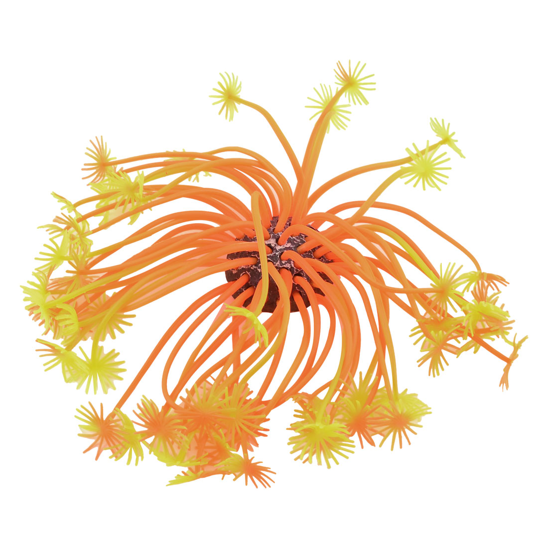 "Aquarium Ceramic Base Orange Yellow Silicone Aquatic Coral Plant Decor 3.1"" Height"