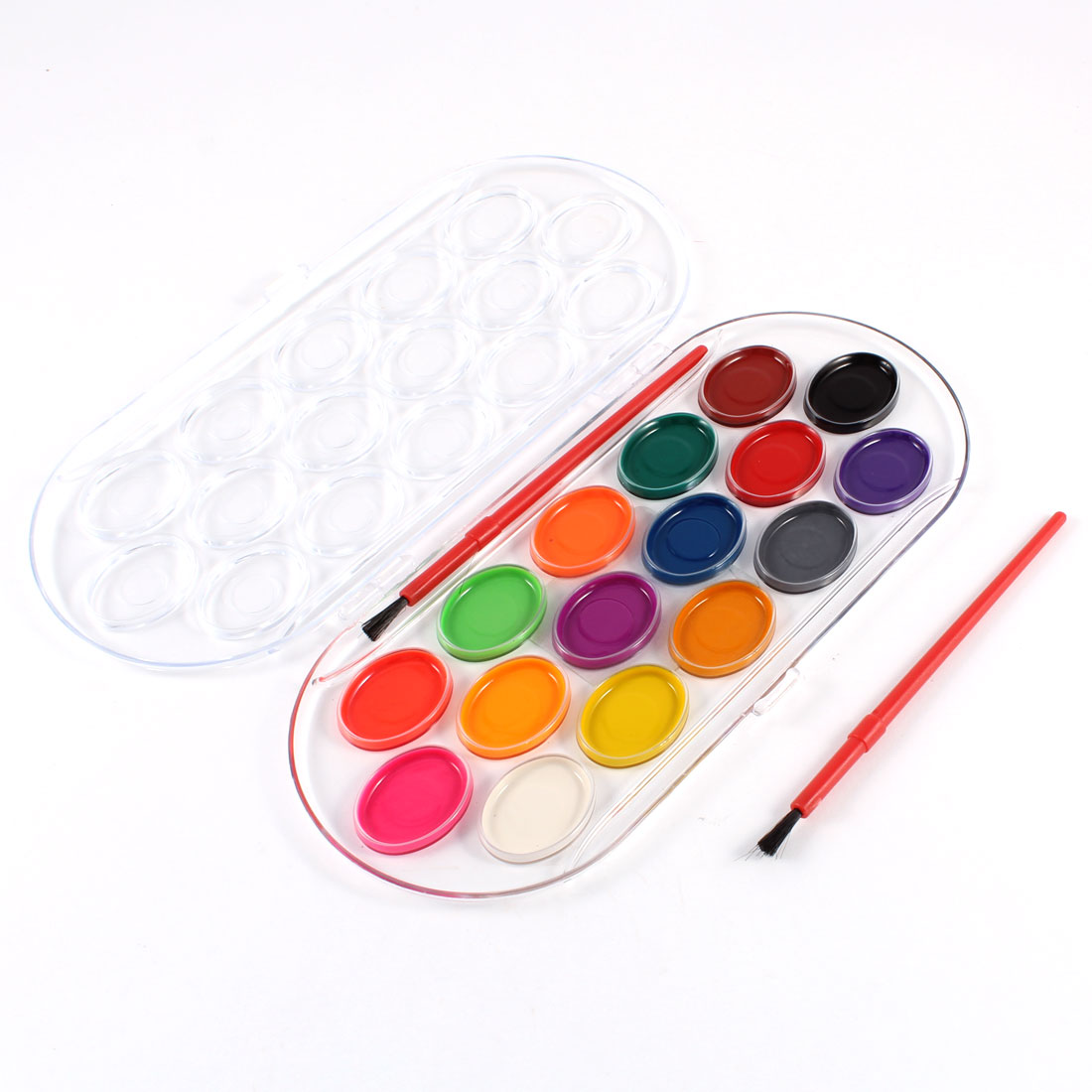 Washable 16 Assorted Colors Watercolors Paint w 2 Brushes