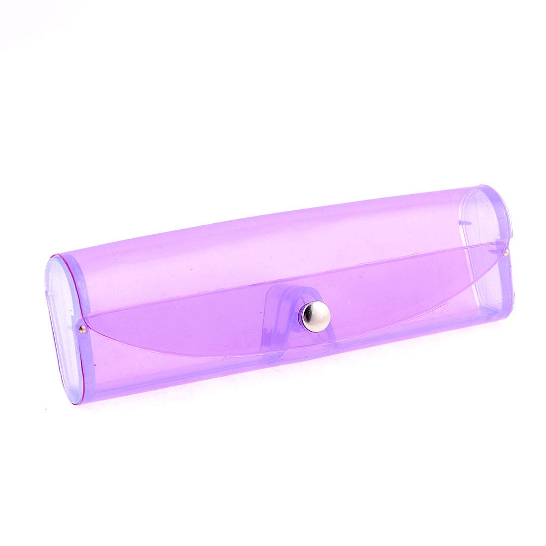 Press Stud Button Soft Plastic Eyeglasses Case Box Clear Purple