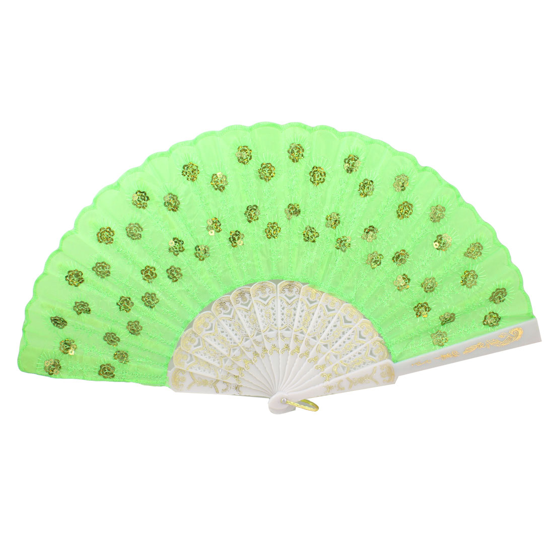 Green Wavy Brim Chinese Japanese Tradition Folding Hand Fan