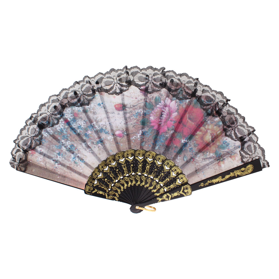 Lady Plastic Frame Flower Leaf Print Foldable Hand Fan Assorted Color