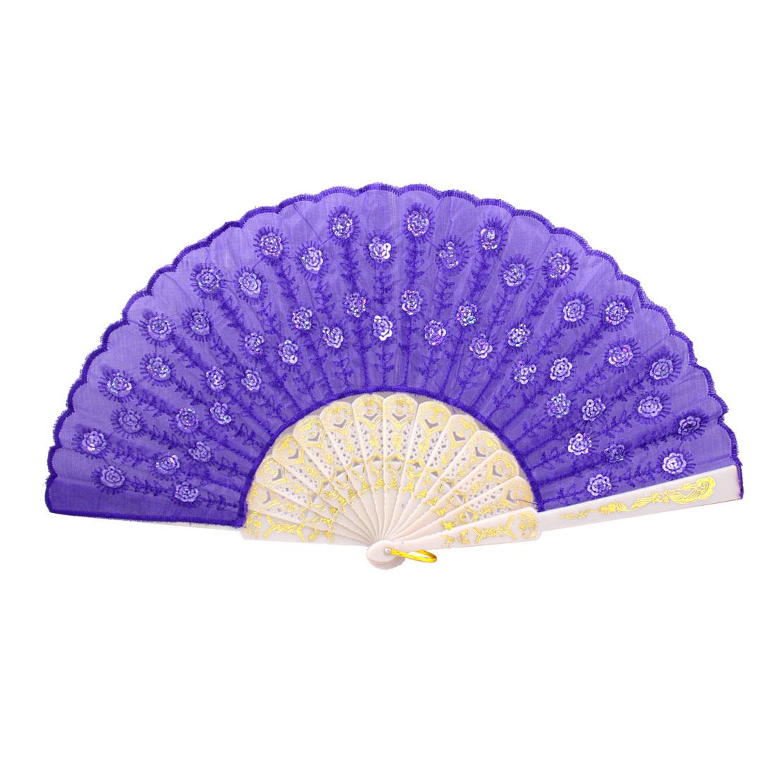Sequin Flower White Plastic Ribs Dark Purple Folding Hand Fan