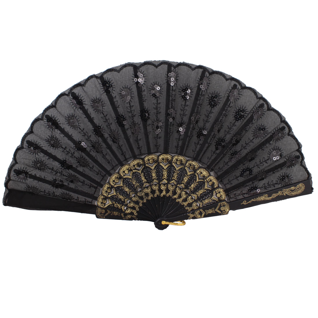 Wavy Brim Chinese Japanese Tradition Folding Hand Fan Black