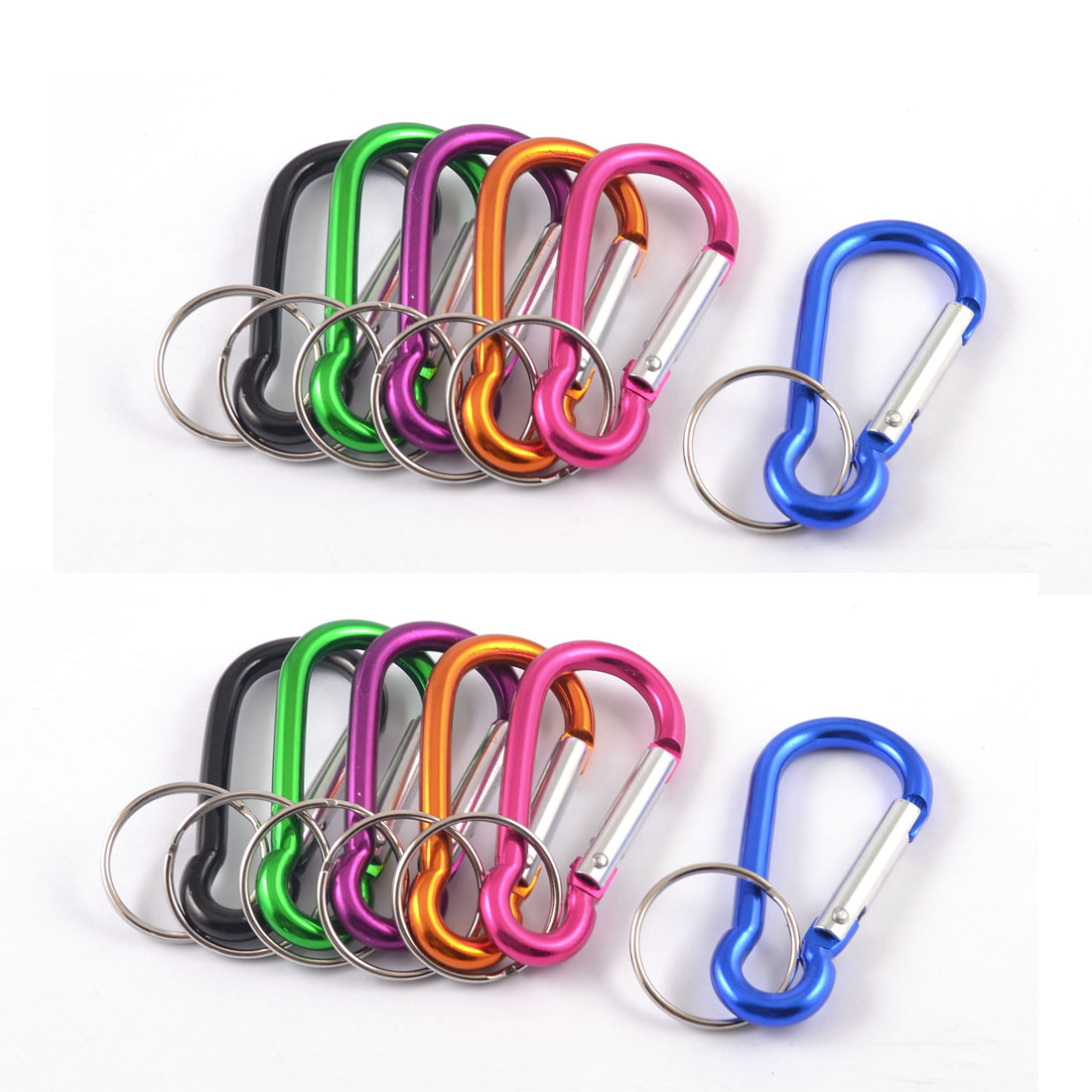 Travel Assorted Color 5mm Dia Key Ring Keychain Spring Hook Carabiners 12 Pcs