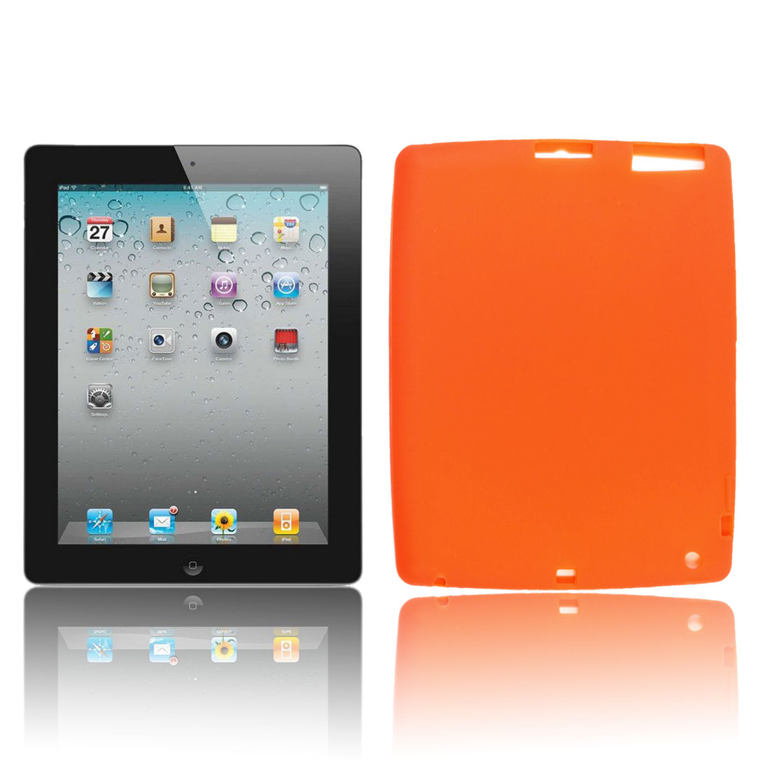 Anti Dust Silicone Soft Case Cover Orange for Apple iPad I II III IV