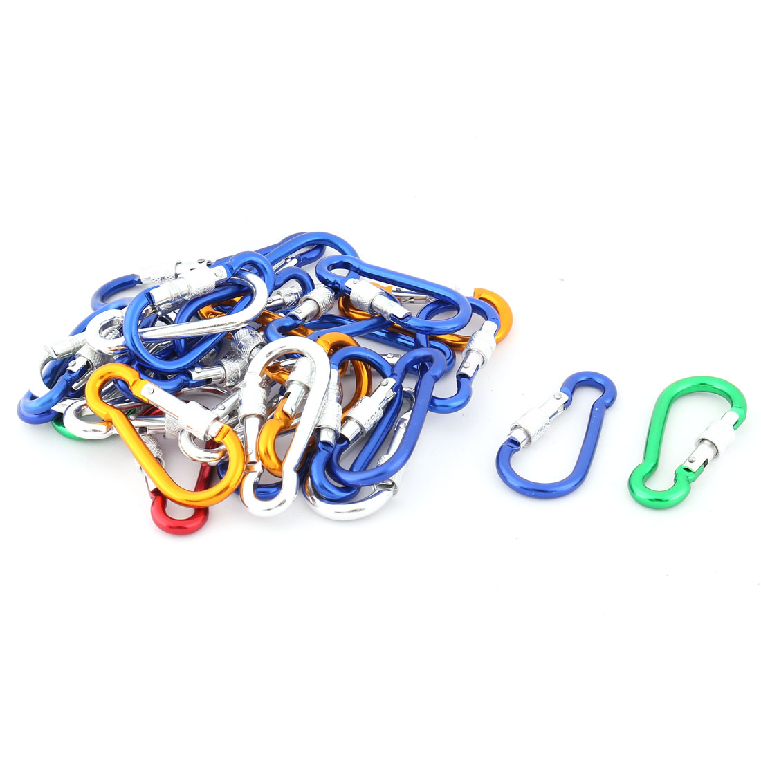 30 Pcs Coloful Aluminum Alloy Spring Loaded Gate Locking Carabiner Hook