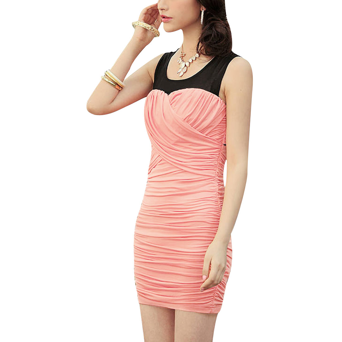 Ladies Above Knee Strap Back Pleated Round Neck Dress Pink XS