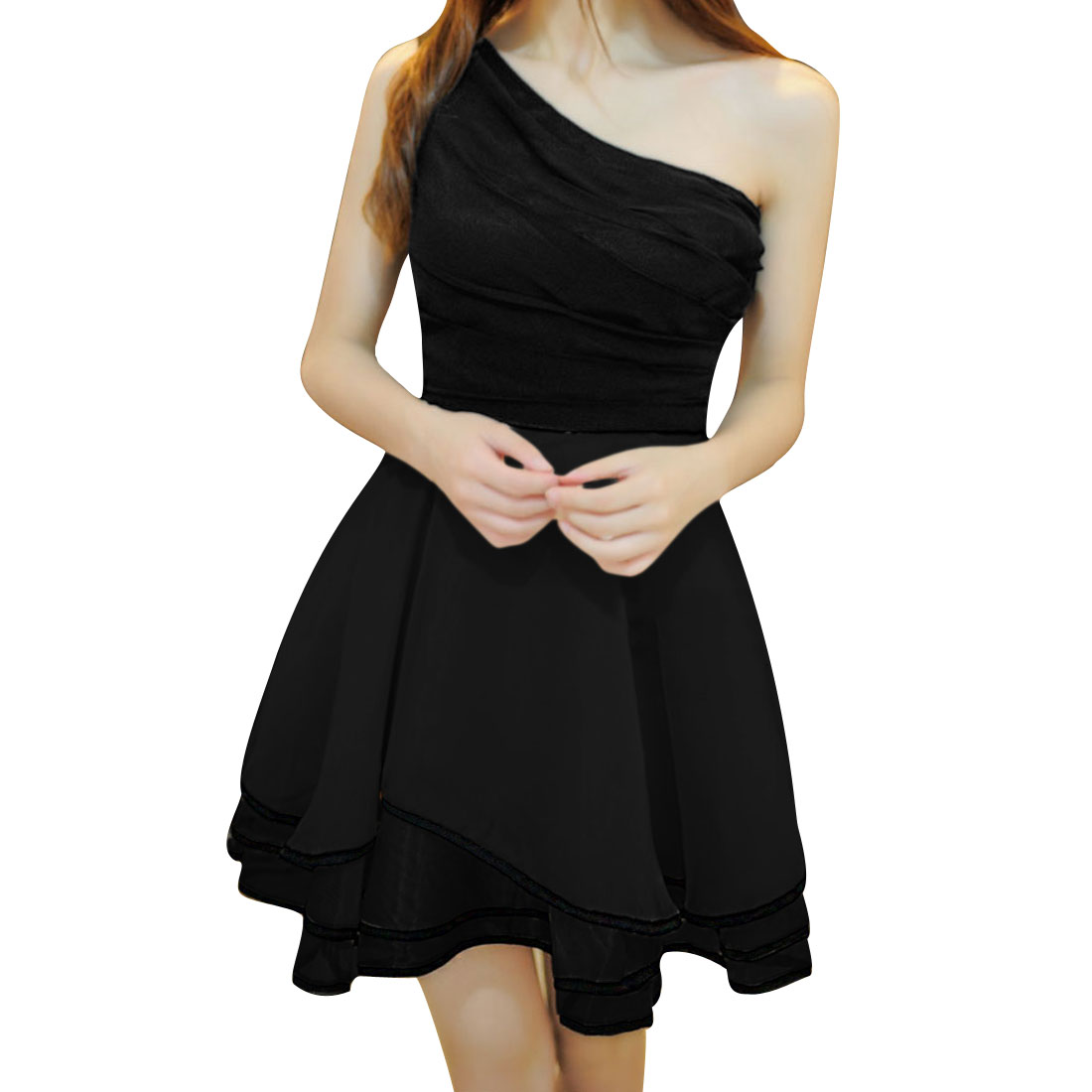 Women Texture Stretchy Sleeveless Above Knee Dress Black XS