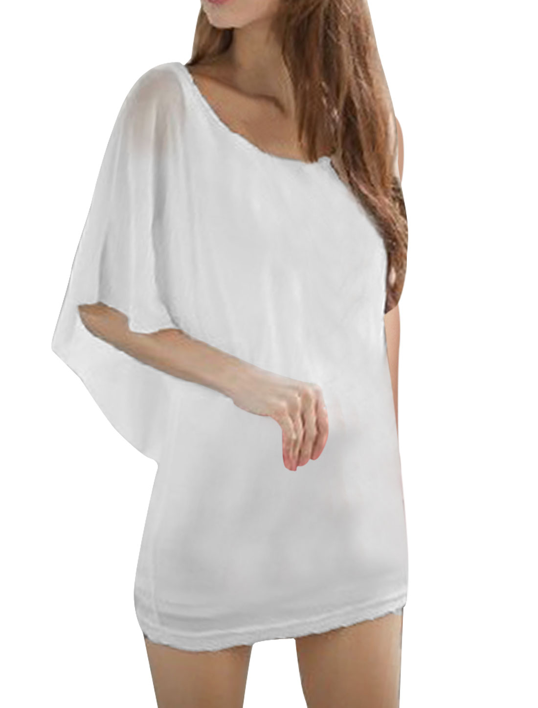 Ladies Round Neck Pullover Batwing Sleeve Solid Color Mesh Fake Two Piece Dress White XS